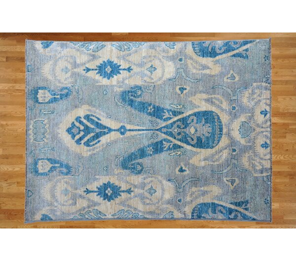 One-of-a-Kind Pellegrino Ikat Hand-Knotted Wool Gray Area Rug by Bloomsbury Market