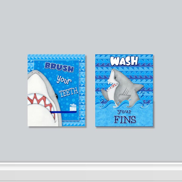 Fish N Sharks 2 Piece Graphic Art Print Set On Wrapped Canvas (set Of 2 b5e5243e0afb