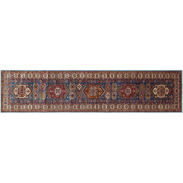 One-of-a-Kind Bronzewood Hand-Knotted Blue Premium Wool Area Rug by Isabelline