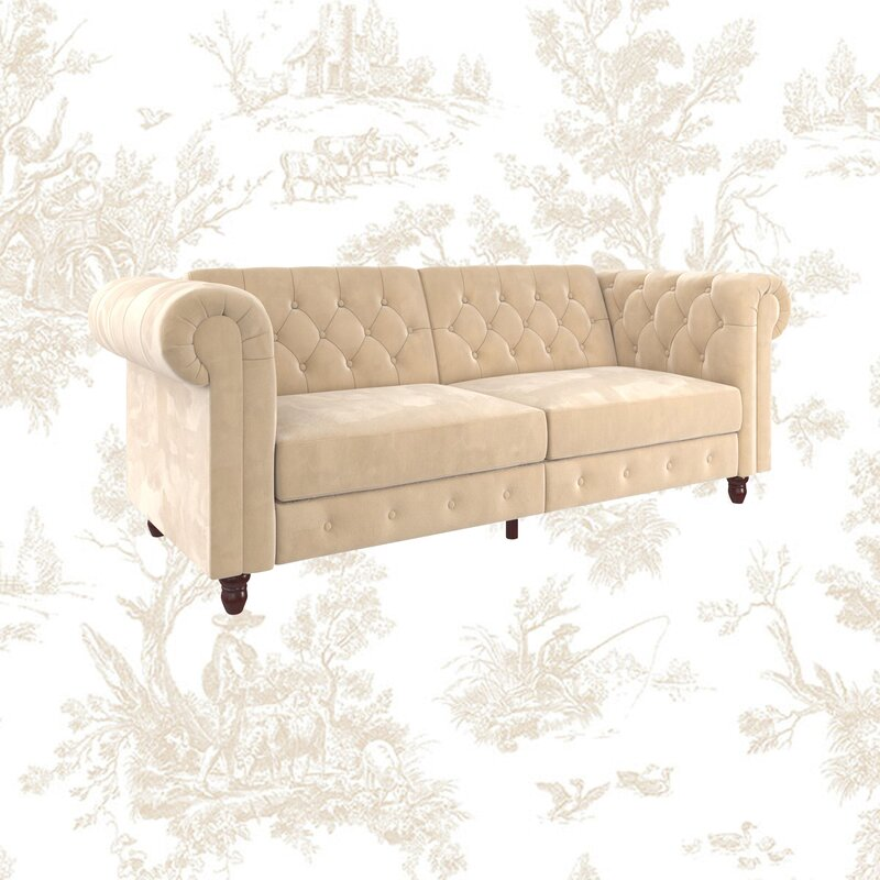 Dallas Velvet 89 5 Rolled Arm Sofa