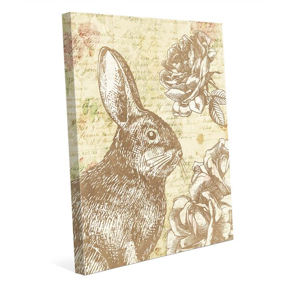 Shabby Bunny Brown Graphic Art on Wrapped Canvas by Click Wall Art