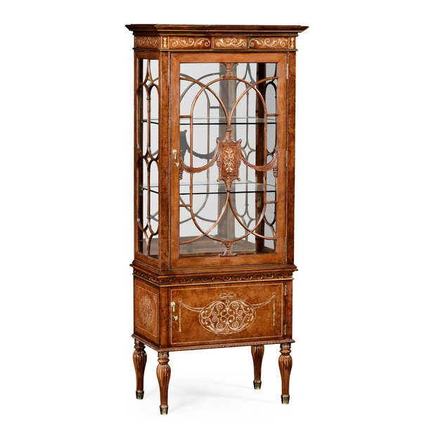 Duchess Right Opening Burl and Mother of Pearl Lighted Corner China Cabinet by Jonathan Charles Fine Furniture