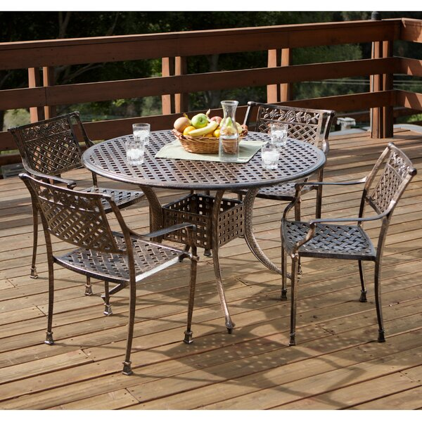 Pagedale 5 Piece Cast Aluminum Dining Set by August Grove August Grove