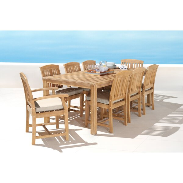 Mcclellan 9 Piece Sunbrella  Dining Set with Cushions by Rosecliff Heights
