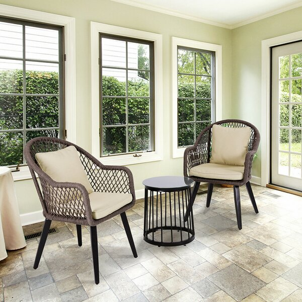Weingartner 3 Piece Seating Group with Cushions by Bungalow Rose