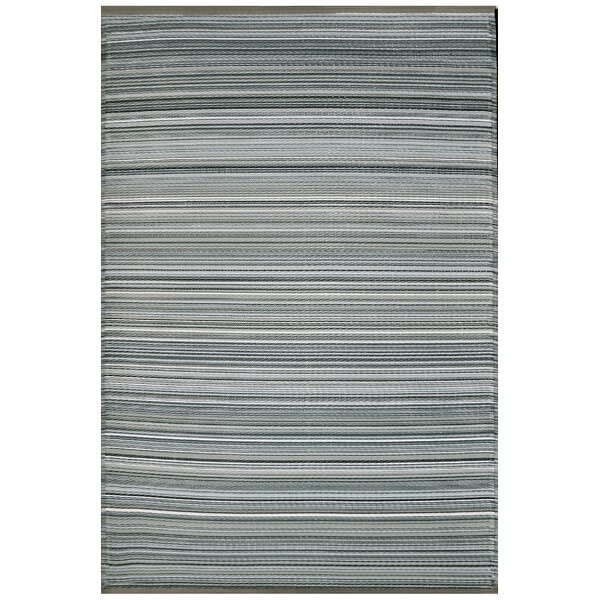 Fehr Striped Reversible Gray Area Rug by Breakwater Bay