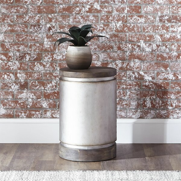 Manuela Drum End Table by 17 Stories