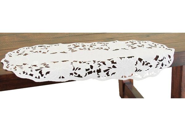 Daisy Garden Embroidered Cutwork Mini Table Runner by Xia Home Fashions