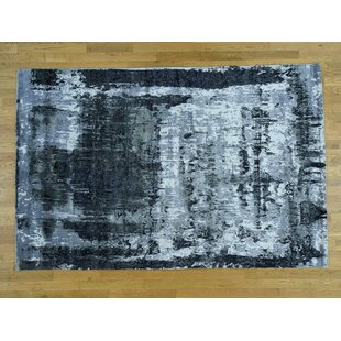 Reviews One-of-a-Kind Fortin Hi and Low Pile Abstract Design Hand-Knotted 6'1 x 9'2 Wool/Silk Black Area Rug By Isabelline
