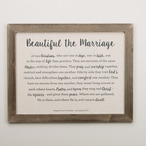 'Beautiful Marriage' Framed Textual Art on Wood by Glory Haus