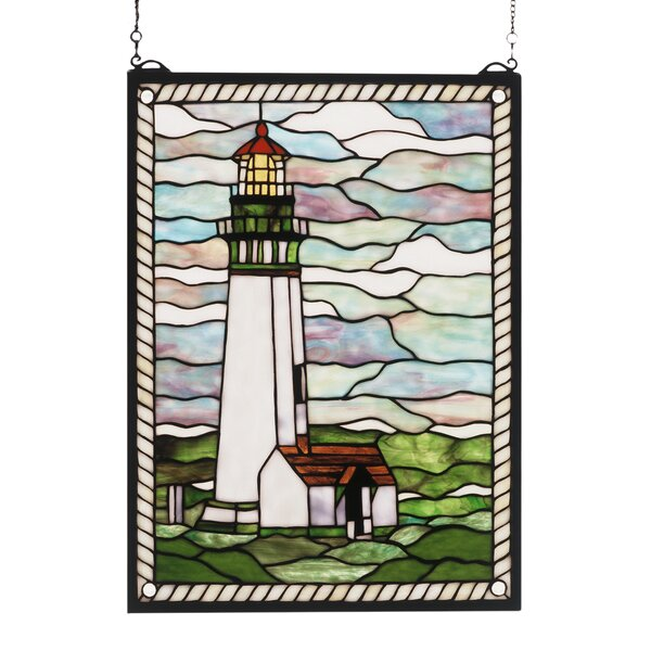 Yaquina Head Lighthouse Stained Glass Window by Meyda Tiffany