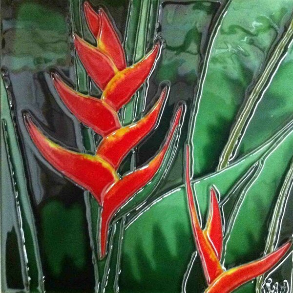 Orange Heliconia Tile Wall Decor by Continental Art Center