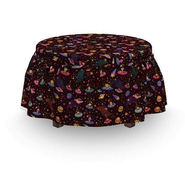 Space Alien Planets And Ufos 2 Piece Box Cushion Ottoman Slipcover Set By East Urban Home