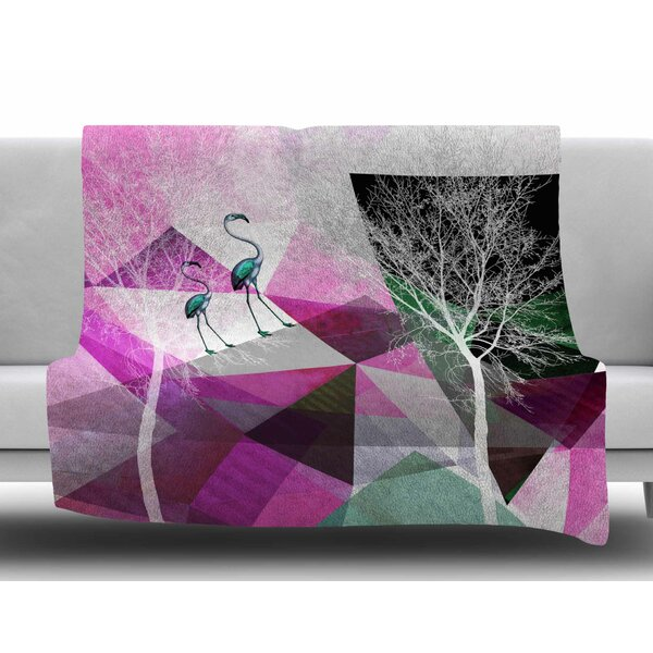 Flamingo P22 by Pia Schneider Fleece Blanket by East Urban Home