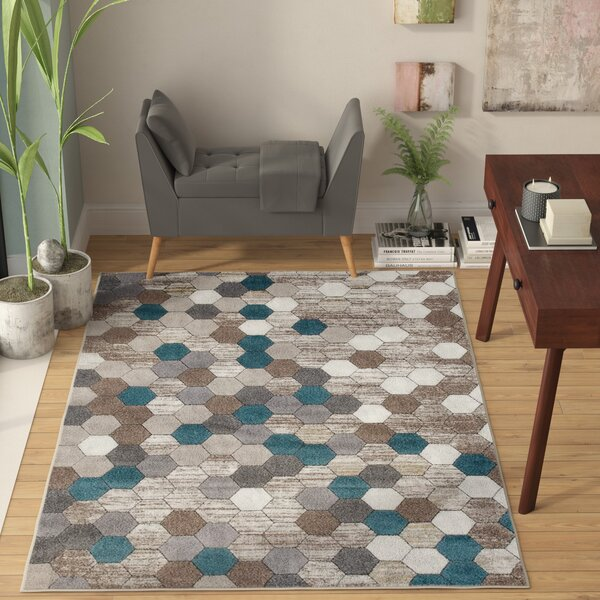 Catalan Beige/Blue Indoor/Outdoor Area Rug by Wrought Studio