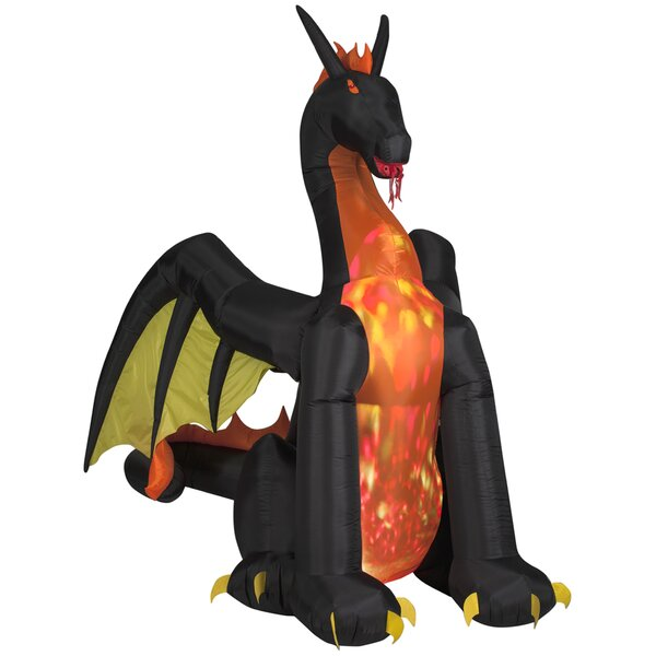 Projection Animated Fire and Ice Dragon Airblown Inflatable Halloween Decoration by The Holiday Aisle