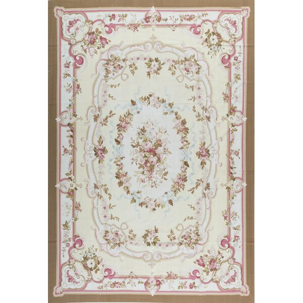 Aubusson Hand Knotted Wool Natural/Brown Rug