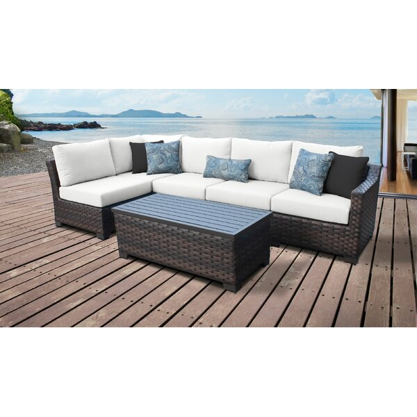 River Brook 6 Piece Outdoor Rattan Sectional Seating Group with Cushions