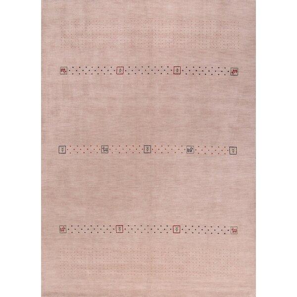 Fitchett Gabbeh Oriental Hand-Knotted Wool Beige/Ivory Area Rug by Bloomsbury Market