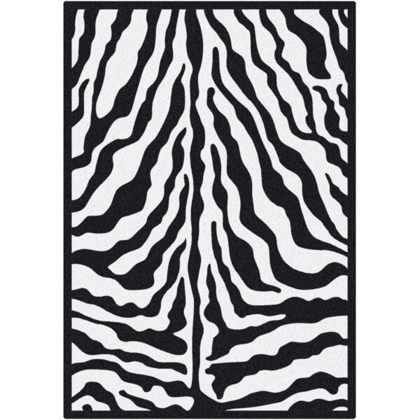 Black & White Zebra Glam Black Ink Area Rug by Milliken