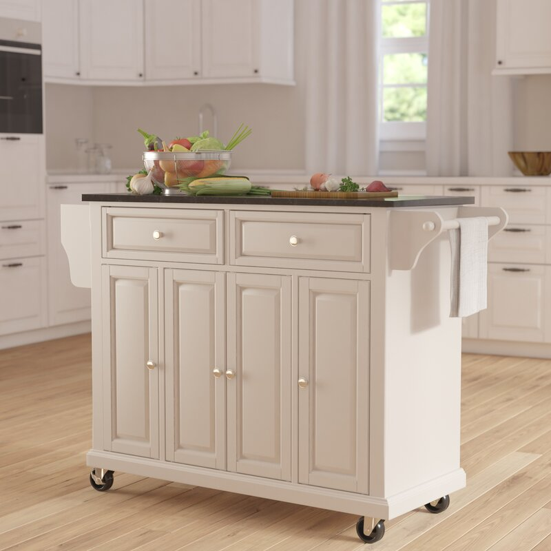 Darby Home Co Pottstown Kitchen Island with Granite Top & Reviews ...