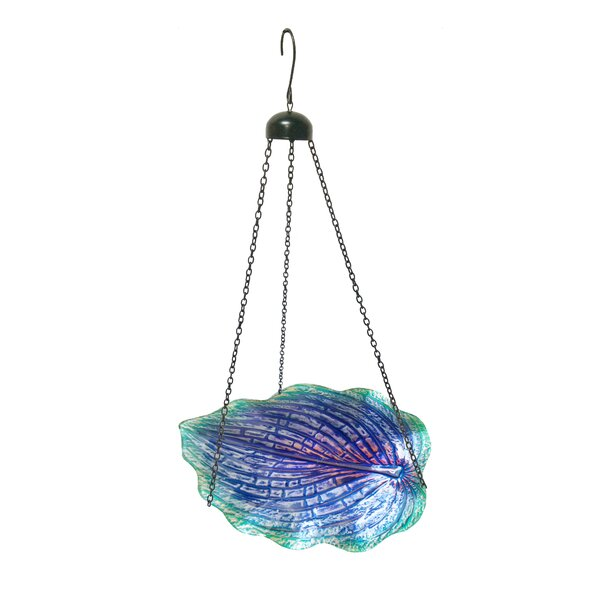 Glow in the Hanging Leaf Shaped Glass Birdbath by Continental Art Center