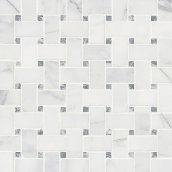 Calacatta Cressa Basketweave Honed Marble Mosaic Tile in White by MSI