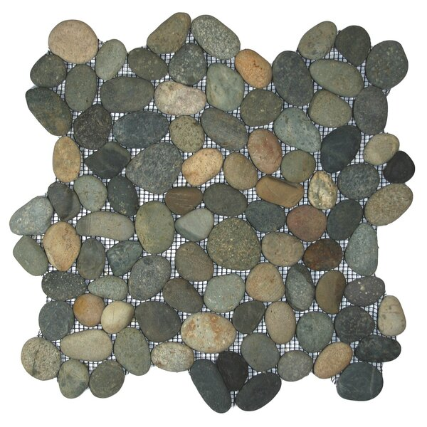 Nile Random Sized Natural Stone Mosaic Tile in Green/Gray by CNK Tile