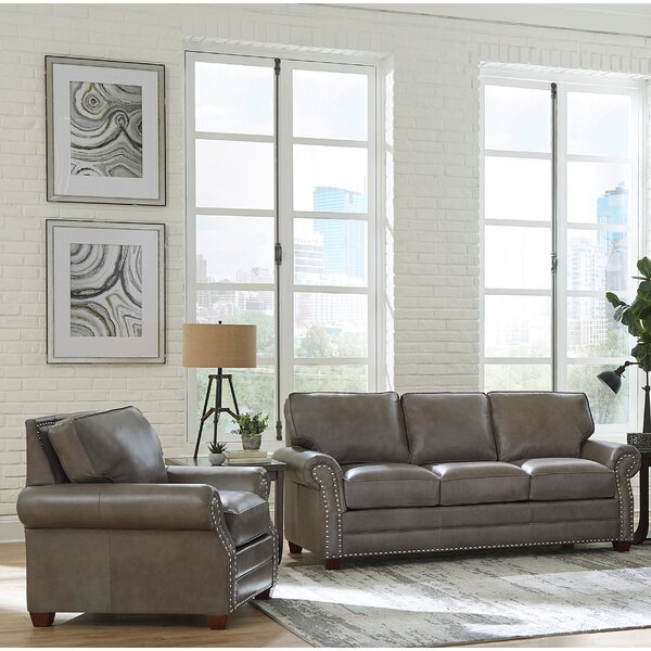 Pedigo 2 Piece Leather Sleeper Living Room Set by Canora Grey Canora Grey