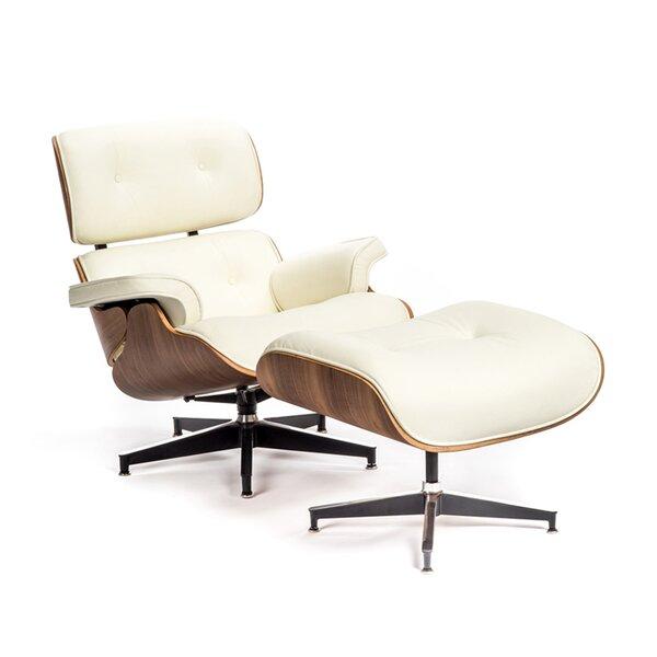 Abdelrazek Top Grain Leather Swivel Lounge Chair and Ottoman by Orren Ellis Orren Ellis