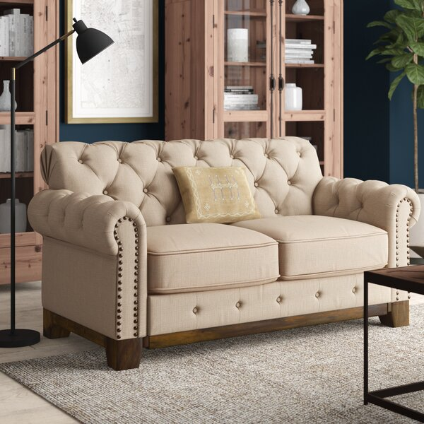 New Britain Tufted Scroll Loveseat By Three Posts