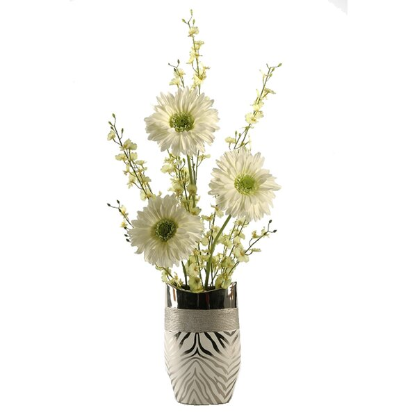 Large Gerber Daisies with Dancing Orchids in Zebra Print Ceramic Vase by Bloomsbury Market