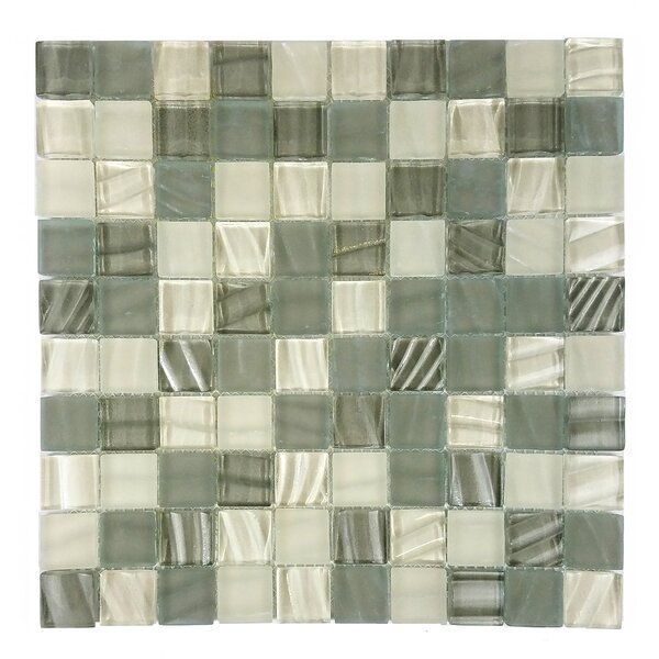 New Era 1.25 x 1.25 Glass and Slate Mosaic Tile in Glazed Khaki by Abolos