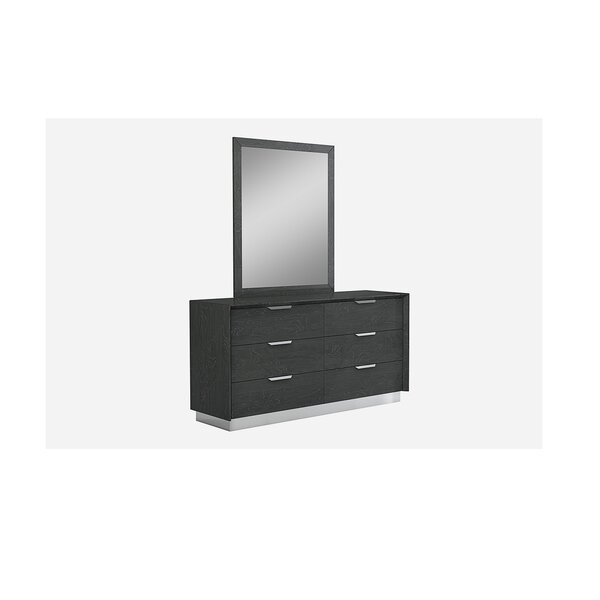 Arushi 6 Drawer Double Dresser with Mirror by Orren Ellis