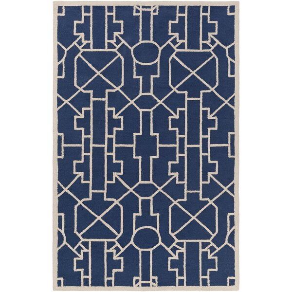 Salamanca Hand-Crafted Navy Blue Area Rug by Mercer41