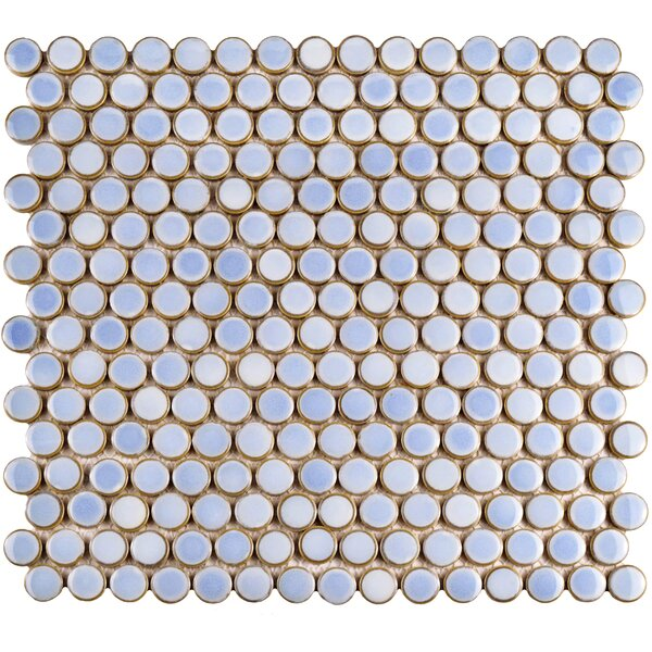 Penny 0.8 x 0.8 Porcelain Mosaic Tile in Frost Blue by EliteTile