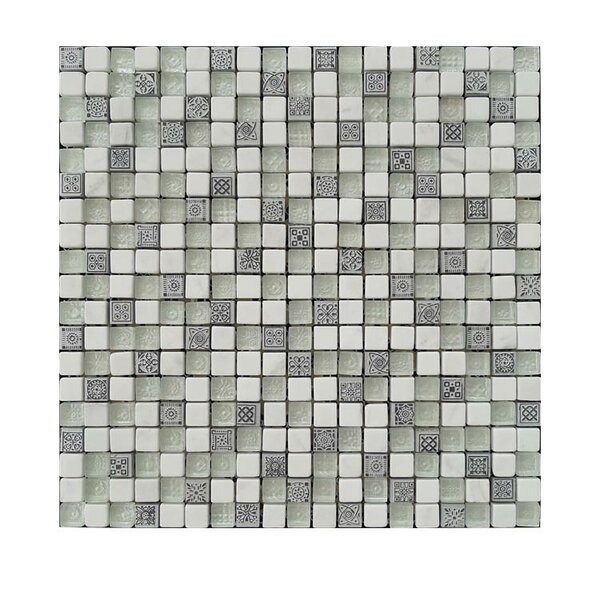 .63 x .63 Glass Mosaic Tile Gray/Beige by QDI Surfaces