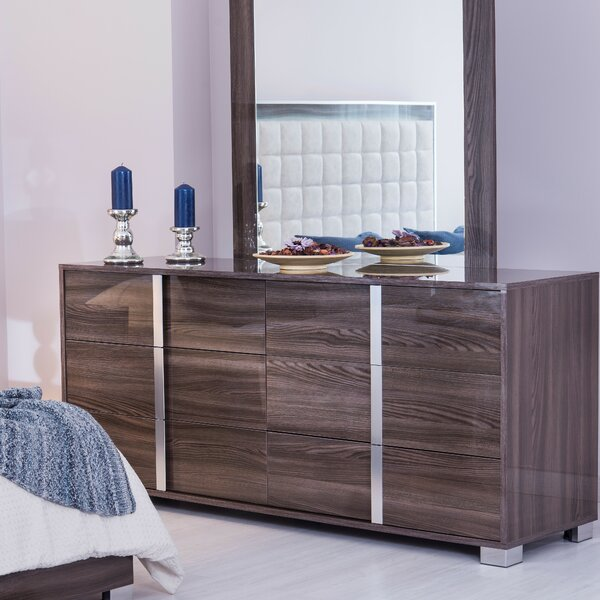Granberry 6 Drawer Double Dresser with Mirror by Orren Ellis