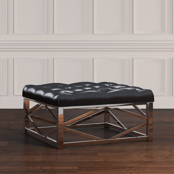 Gilham Faux Leather Ottoman By House Of Hampton Great price