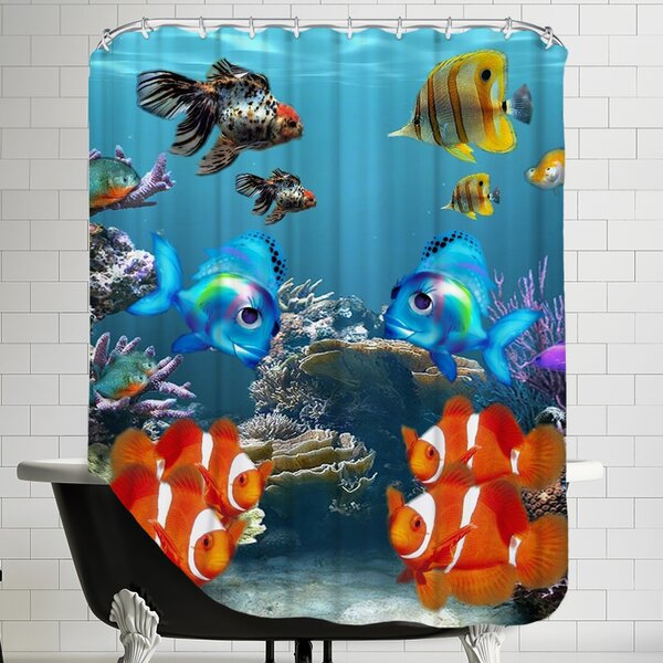 Fish Style Shower Curtain by East Urban Home