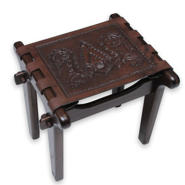 Colonial Elegance Mohena Wood and Leather Stool by Novica