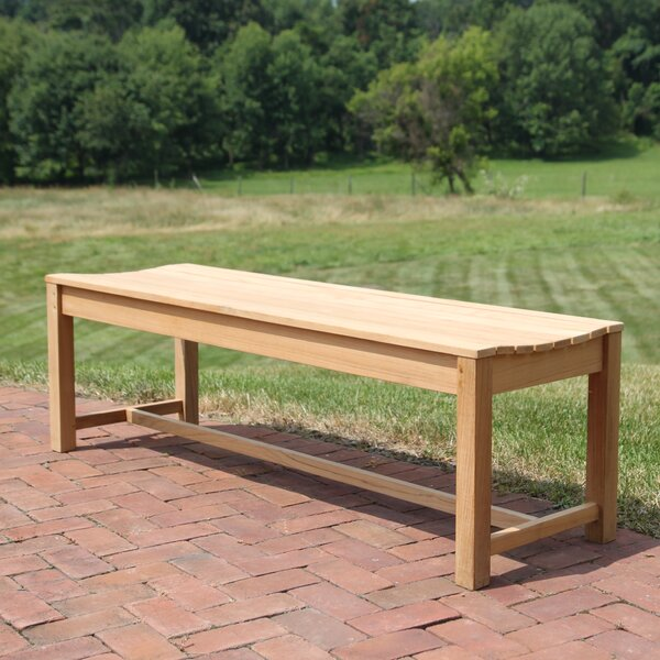 Earls Backless Teak Picnic Bench by Rosecliff Heights