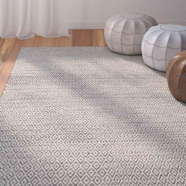 Brooklington Handwoven Flatweave Wool Gray Area Rug by Bungalow Rose