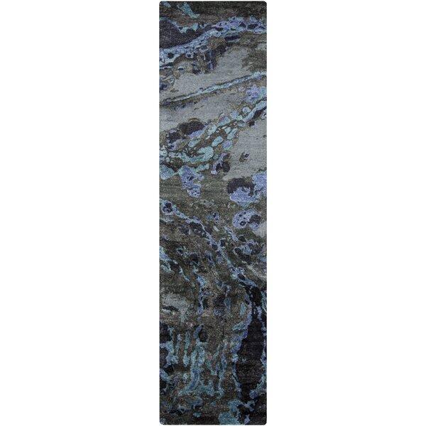 Aylesworth Hand-Tufted Silk Charcoal Cobalt Area Rug