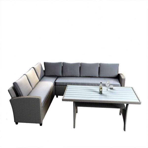 Skippack 3 Rattan Sectional Seating Group with Cushions by Ebern Designs