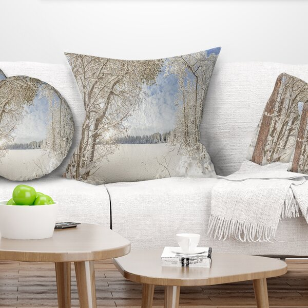 Landscape Printed Lake in Winter Woods Pillow by East Urban Home