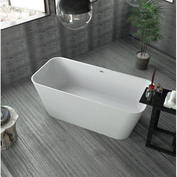 Solid Surface Resin 59 x 26 Freestanding Soaking Bathtub with Internal Drain by Streamline Bath
