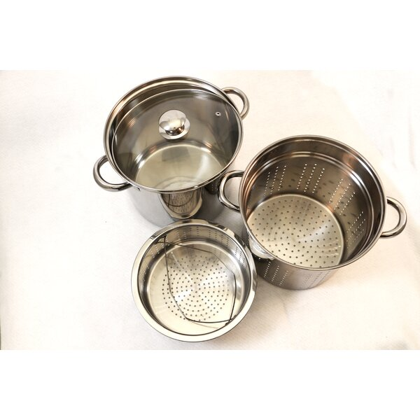 4 Piece Excel Stainless Steel Pasta Cooker Multi-Pot Set with Lid by Cook Pro