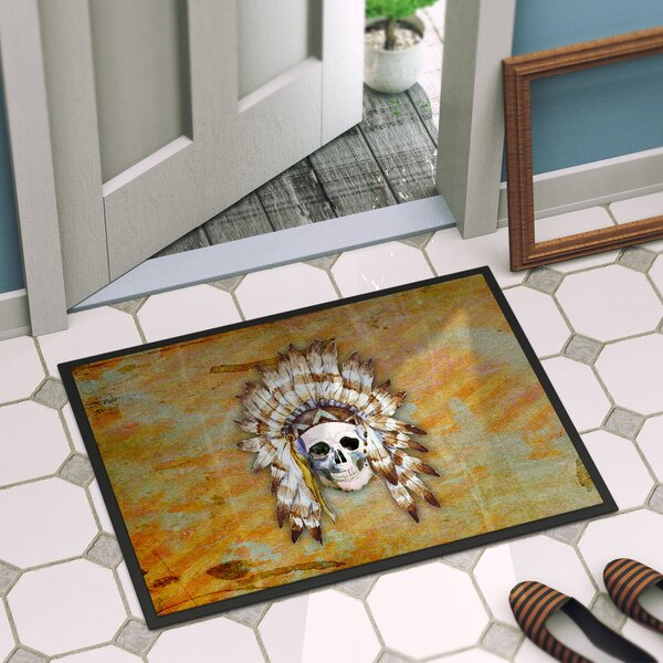 Indian Skull Rectangle Indoor/Outdoor Doormat by E