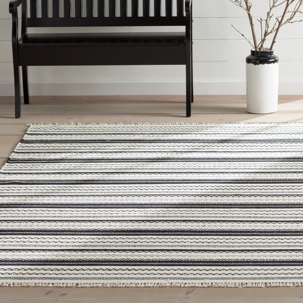 Mahanoy Hand-Woven Ivory/Black Area Rug by Gracie Oaks